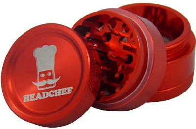 Headchef Grinder 30mm 4 Part Red.